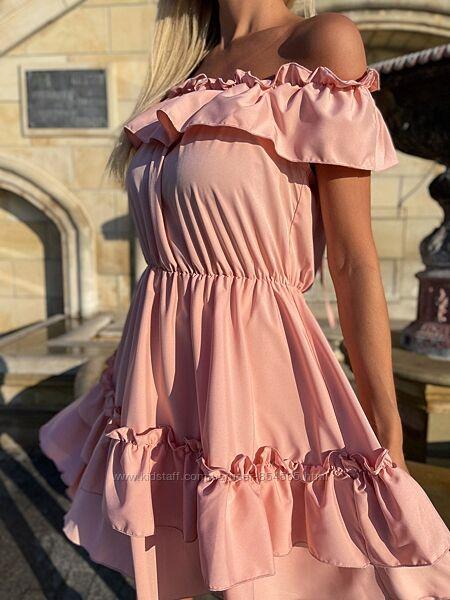 Платье на лето, платье короткое Бэби долл, короткое платье с рюшами