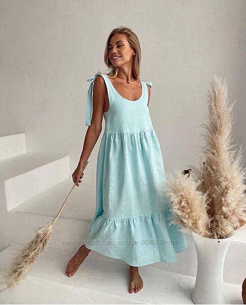 Женское летнее платье из льна, свободный женский сарафан