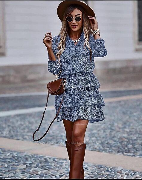 Женское платье на лето с воланами, платье в горох, Летнее платье с рукавом