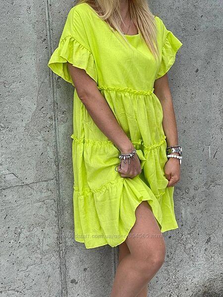 Летнее платье со льна, Стильное платье на лето, Яркое платье по колено