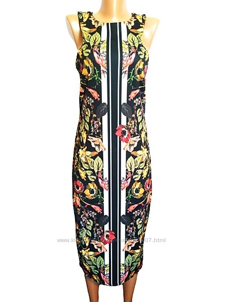Платье эффектное, трикотажное, черное, удлинённое Next размер 46, M, UK10,
