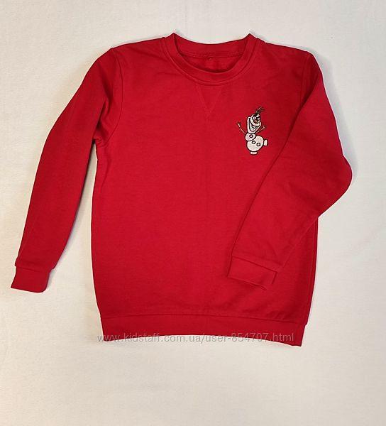 Джемпер свитшот детский красный George с вышивкой Olaf размер 122-128 см,