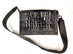 Сумка клатч кожаный черный Asos Design