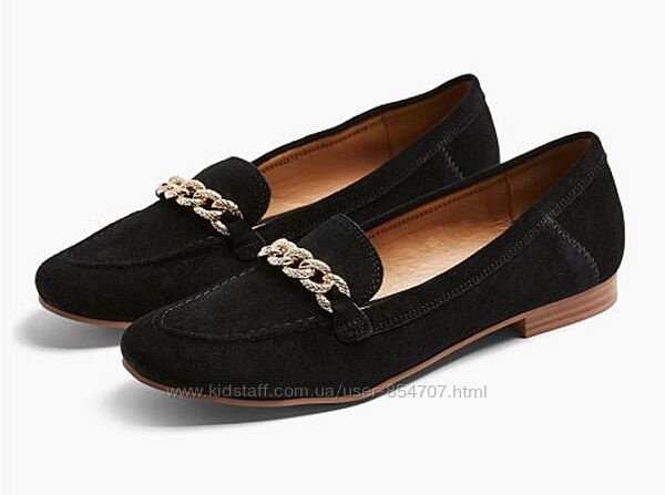 Туфли женские лоферы черные замшевые Topshop размер 38, EU39, UK6