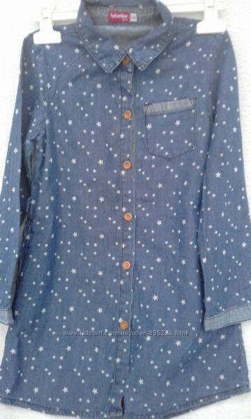 Джинсовая рубашка платье туника