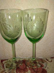 2 бокала зеленое стекло