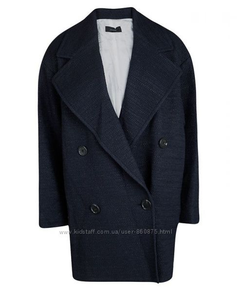 Пальто черно-синее двубортное твид букле Joseph 40-46р