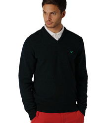 Пуловер свитер черный 100 шерсть Lyle & Scott 54-58р