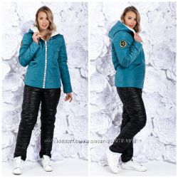 Яркий лыжный теплый зимний костюм на овчине, р. 42-56