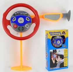 Детский руль со звуком, светом, на присоске, зеркало заднего вида
