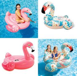 Плотик надувной Фламинго розовый 57558 и тропический 57559, Intex