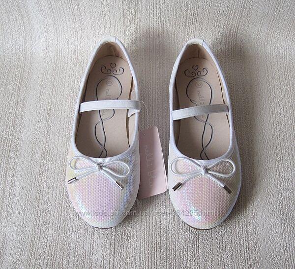 Туфли на девочку Nelli Blu, перламутровые пайетки, размер 33