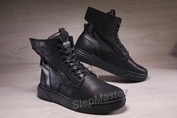 Зимние кожаные ботинки на меху Diesel Black Wing