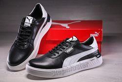 Кроссовки мужские кожаные Puma Fast Race Black White Leather