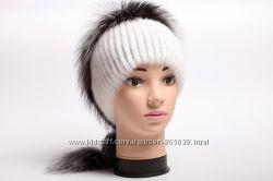 шапка женская вязаная из меха норки и чернобурки 1810 грн женские