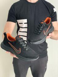 Кроссовки мужские летние Nike Run All Day черные замша-сетка