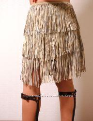 Юбка замшевая Беж Нюд эксклюзивная   крутая юбка секси бахрома