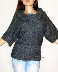 New look меланжевый мохеровый свитер с фрэнч рукавами