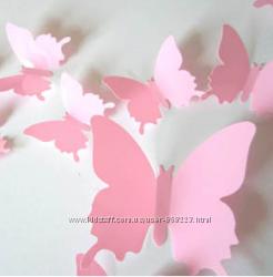 Бабочки для интерьера, декор интерьера, бабочки 3D