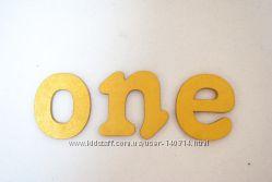 Слово из дерева фанера 6мм на годик золото One year