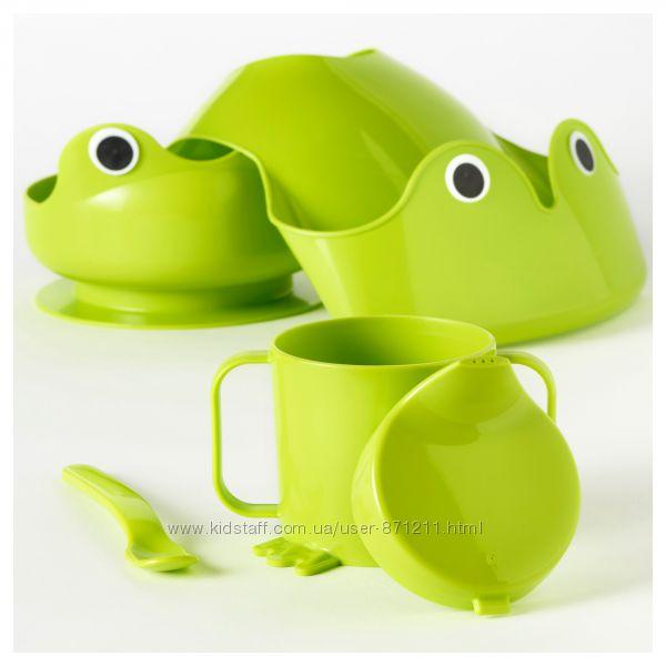Набор детской посуды, 4 предмета, зеленый MATA, МАТА Ikea Икеа 400. 848. 61