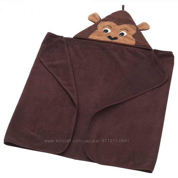Полотенце с капюшоном, обезьяна, 70x140 см DJUNGELSKOG Ikea Икеа 103. 938.