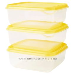 Контейнер для продуктов, 0. 6 л, 3 шт PRUTA ПРУТА Ikea Икеа 903. 358. 43