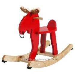 Лось-качалка, красный, каучуковое дерево ЭКОРРЭ EKORRE Ikea Икеа 500. 607. 13