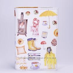 Обложка на паспорт, серая, Дождевое настроение, экокожа
