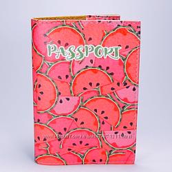 Обложка на паспорт, Арбузы, экокожа