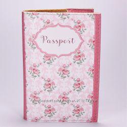 Обложка на паспорт, белыйрозовый, Розы, экокожа