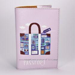 Обложка на паспорт, светло фиолетовая, Чемодан, экокожа