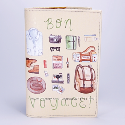 Обложка на паспорт, бежевая, Bon Voyage, экокожа