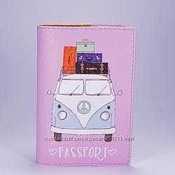 Обложка на паспорт, розовый Фургончик, экокожа