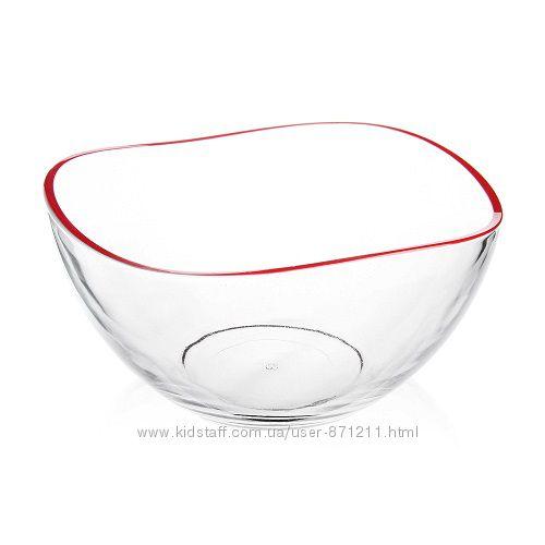 Салатница, окрашенный ободок, 21 см, красный GL-7053