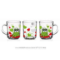 Кружка детская, 220 мл, веселые жабки, зеленыйкрасный, Glasmark Гласмарк