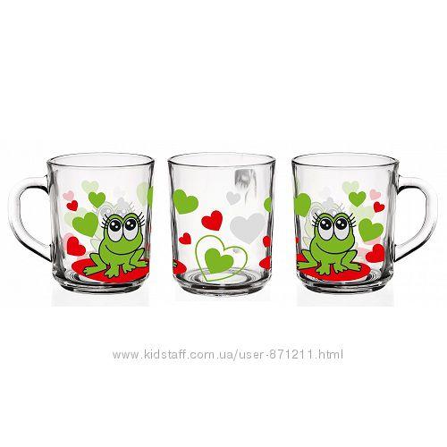 Кружка детская, 220 мл, веселые жабки, зеленыйкрасный GL-7005