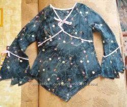 Красивая нарядная блуза с вышивкой легкая ткань синяя эксклюзив