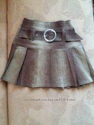 49be0c941e7 Стильная красивая коричневая желтая юбка с поясом в складки