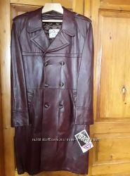 Мужской бордовый плащ натуральная кожа victoria leather