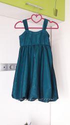 Нарядное изумрудное платье H&M 8-10 лет