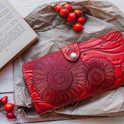 Кошелек кожаный женский Цветы Подсолнух Птицы Ласточка Солнце Мед Соты Перо