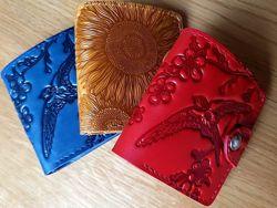 Маленькие женские кожаные кошельки Разные Птицы Цветы Подсолнухи Маки Коты