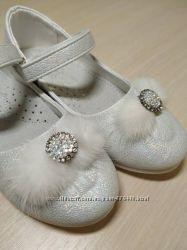 Туфли нарядные на девочку белые Солнце 96-2С р. 27-31 туфлі святкові білі