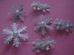 снежинка серебристая на заколке