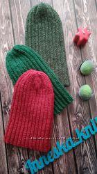 Детская демисезонная вязаная шапка Тыковка снуд хомут комплект Family look
