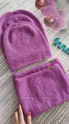 Демисезонная детская вязаная шапка бини снуд хомут комплект тонкая