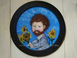 Ван Гог и подсолнухи. Картина маслом, миниатюра.