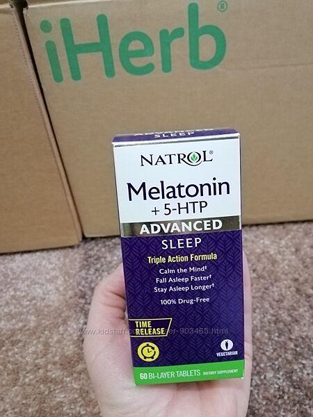 Natrol, мелатонин  5-HTP, улучшенный сон, 60 двухслойных таблеток