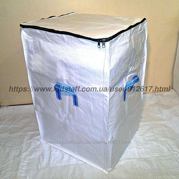 Сумка баул особо прочная хозяйственная белая на 4 ручки 100 х 65 х 60 см